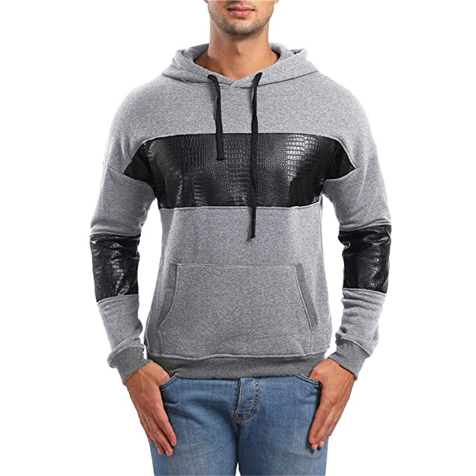 haoricu Mens Autumn Personality Sport Hoodies Long Sleeve Pockets Hooded Sweatshirt Outwear at Amazon Mens Clothing store: