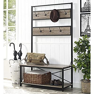"Walker Edison Furniture Company Farmhouse Entry Bench Mudroom Hall Tree Storage Shelf Coat Rack, 72 Inch, Driftwood - Dimensions: 72"" H x 40"" L x 17"" W Bottom Shelf Dimensions: 13.5"" H x 38"" L x 15"" W Made of high grade MDF, metal, and durable laminate - hall-trees, entryway-furniture-decor, entryway-laundry-room - 61TT%2Bobj2EL. SS400  -"
