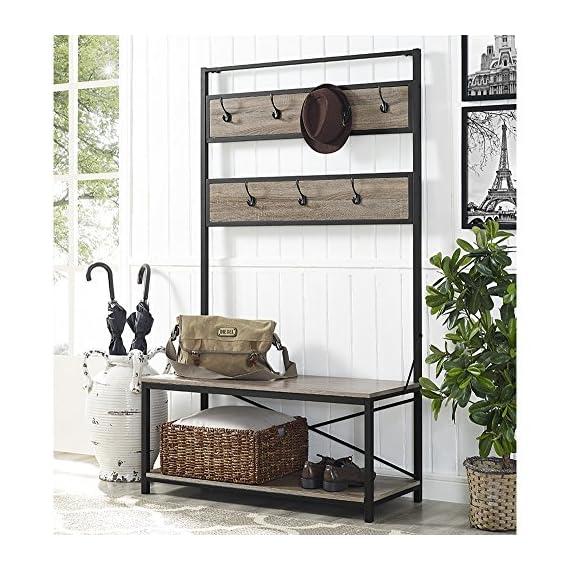 "Walker Edison Furniture Company Farmhouse Entry Bench Mudroom Hall Tree Storage Shelf Coat Rack, 72 Inch, Driftwood - Dimensions: 72"" H x 40"" L x 17"" W Bottom Shelf Dimensions: 13.5"" H x 38"" L x 15"" W Made of high grade MDF, metal, and durable lamiNULLte - hall-trees, entryway-furniture-decor, entryway-laundry-room - 61TT%2Bobj2EL. SS570  -"
