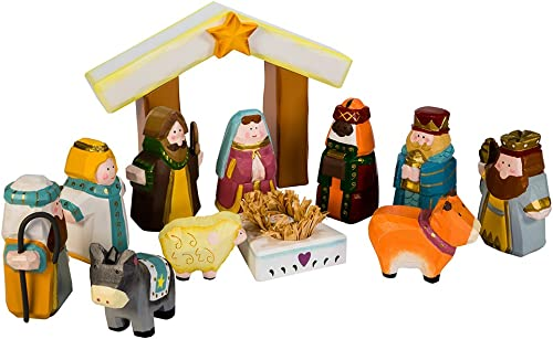 Kurt Adler 10.5-Inch Hand-Carved Child s 1st Nativity Set