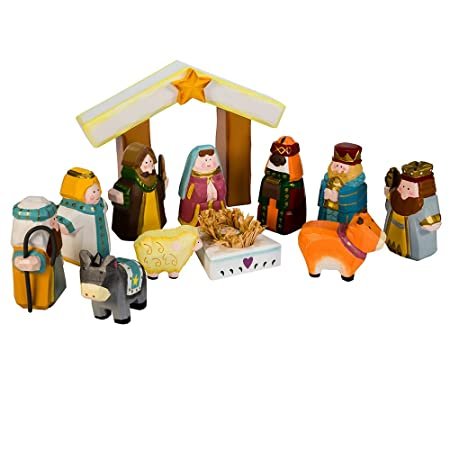 Kurt Adler 10.5-Inch Hand-Carved Child s 1st Nativity Set