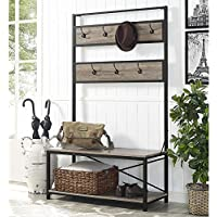 WE Furniture Industrial Metal and Wood Hall Tree in Driftwood - 72