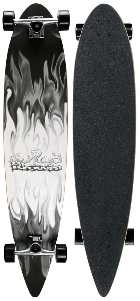 Complete Pintail Longboardグレー/ホワイトFlame