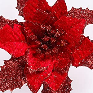 Alelife Artificial Christmas Tree Ornament Christmas Ornament Bowknot Festival Supplies Fake Flower Pendants (Red) 3