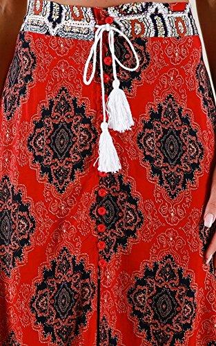 Femme Vogue Taille Haute Grand Fente Jupe Bigood Casual Imprim Pan dg5Bq