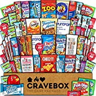 CraveBox Care Package (60 Count) Snacks Food Cookies Granola Bar Chips Candy Ultimate Variety Gift Box Pack Assortment Basket Bundle Mix Bulk Sampler Treats College Students Final Exam Father's Day