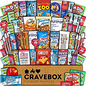 CraveBox Care Package (60 Count) Snacks Food Cookies Granola Bar Chips Candy Ultimate Variety Gift Box Pack Assortment Basket Bundle Mix Bulk Sampler Treats College Students Final Exam Office Summer