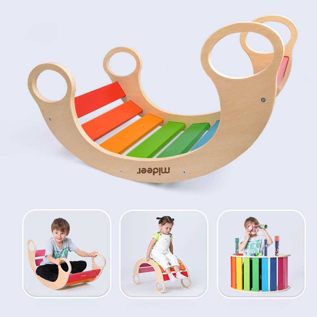 YangMi Children's Wooden Horse- Children's Multi-Function Rainbow Rocking Chair, Children's Rocking Chair Toys in Various Ways (Color : Wood Color, Size : 74x39x36.5cm) by YangMi (Image #3)