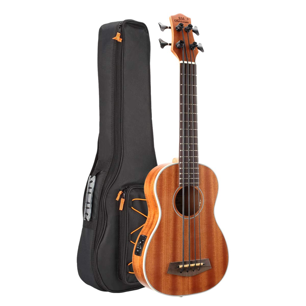 30 inch Electric Acoustic Bass Ukulele Sapele Wood with Gig Bag, Strap, Plectrum, Extra Strings UB-113 Changyun 01-UC-5CO1