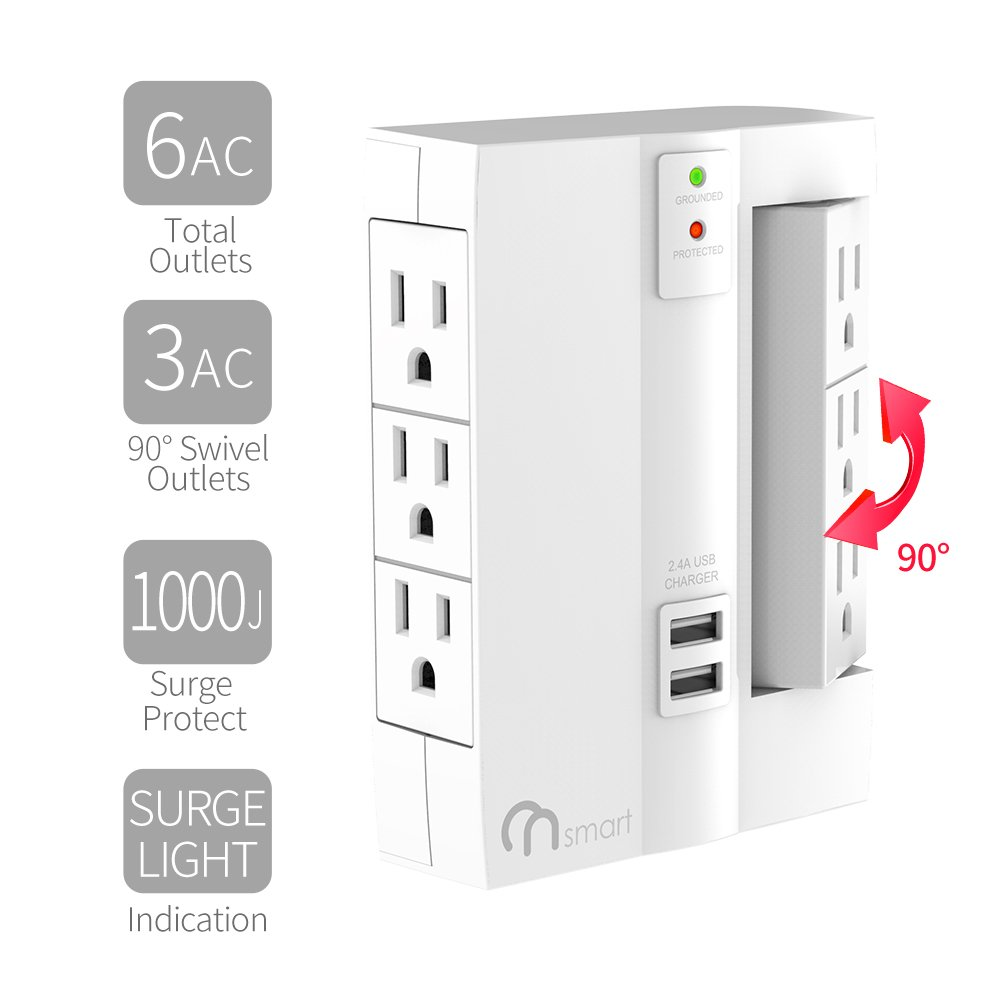 ON 6-Outlet Wall Tap Surge Protector- Top Power Strip w/6 Power Outlets + 2 USB Ports- Portable Wall-Mount Socket - Best Power Surge Protection & Smart Charging S For Home, The Office, Travel- White by ON Smart Solution