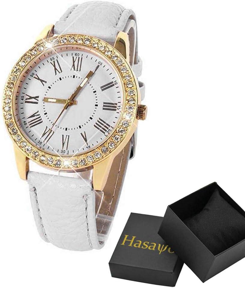 Hasayo Cristal de Reloj de Oro de Las Mujeres de Cuero de Lujo Ocasional de Las Mujeres de Lujo de la Correa de Reloj de Cuarzo Reloj Causal Mujer (Color : C)