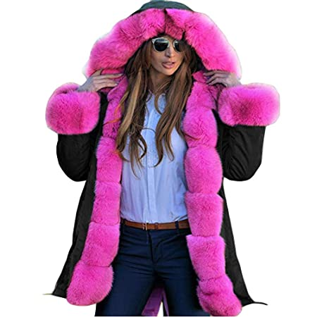 Amazon.com: Excellent Value On Sale! Besde Womens Autumn and Winter Fashion Faux Fur Winter Warm Plush Jacket Parka Hooded Coat Fishtail Long Down Coat: ...
