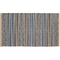 HF by LT Handwoven Jacquard Scatter Rug, 27 x 45, 100% Cotton, Reversible, Machine Washable, Khaki and Blue, Four Color Options