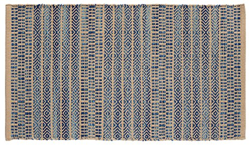 Home Furnishings by Larry Traverso Handwoven Jacquard Scatter Rug, 100% Cotton, Reversible, 27-Inches by 45-Inches, Machine Washable, Khaki and Grey, Four color options available
