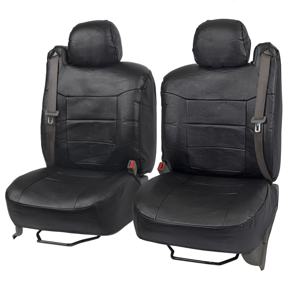 Black PU Leather Front Pair Seat Covers Luxury Leatherette for Built-in Seatbelt SUV Trucks