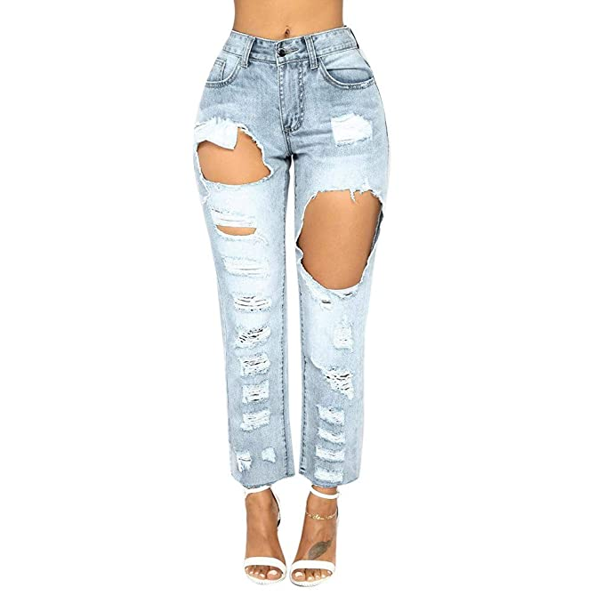 scaling Jeans for Women Pants Women Skinny Ripped Holes Jeans Pants High Waist Stretch Slim Pencil Trousers