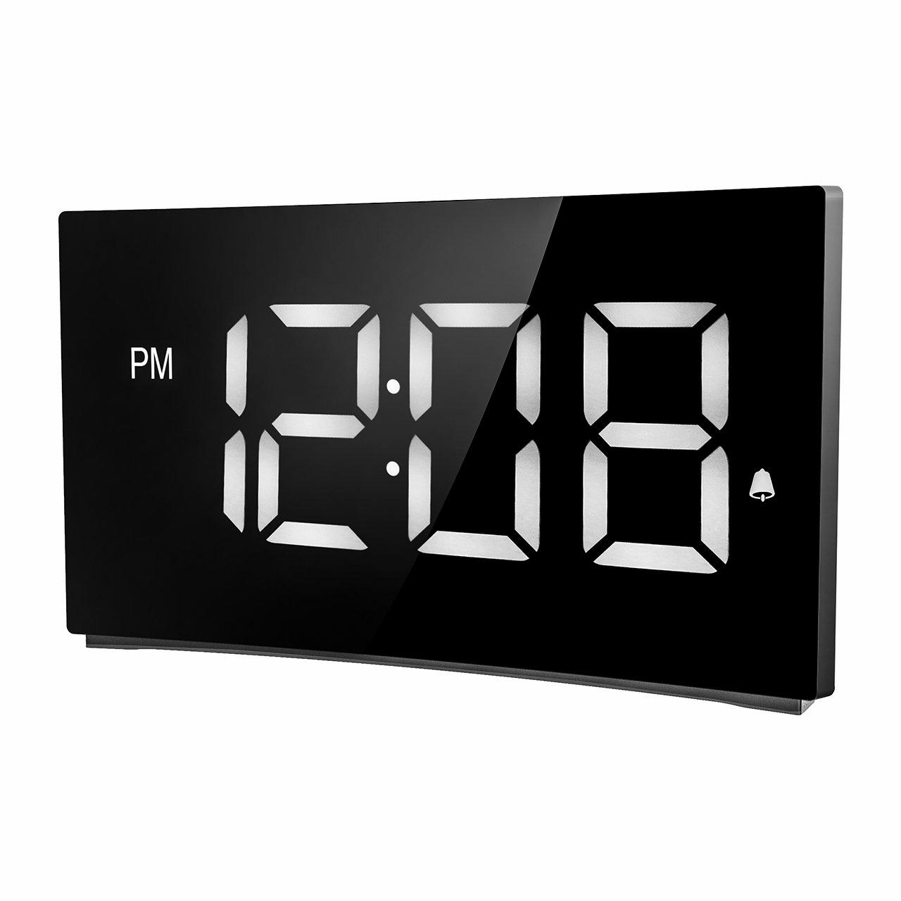 Holife Despertador Digital, [2018 Actualizado] Reloj Despertador Digital de Pantalla Curvada, con 3 Sonidos de Alarma, Fácil de Operacion, Función Snooze ...
