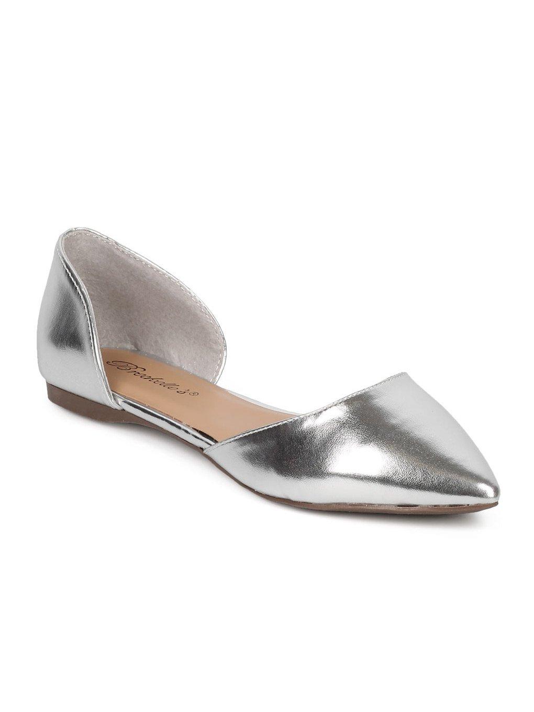 Breckelle's Women Metallic Leatherette Pointy Toe Dorsay Flat GG16 - Silver (Size: 8.0)