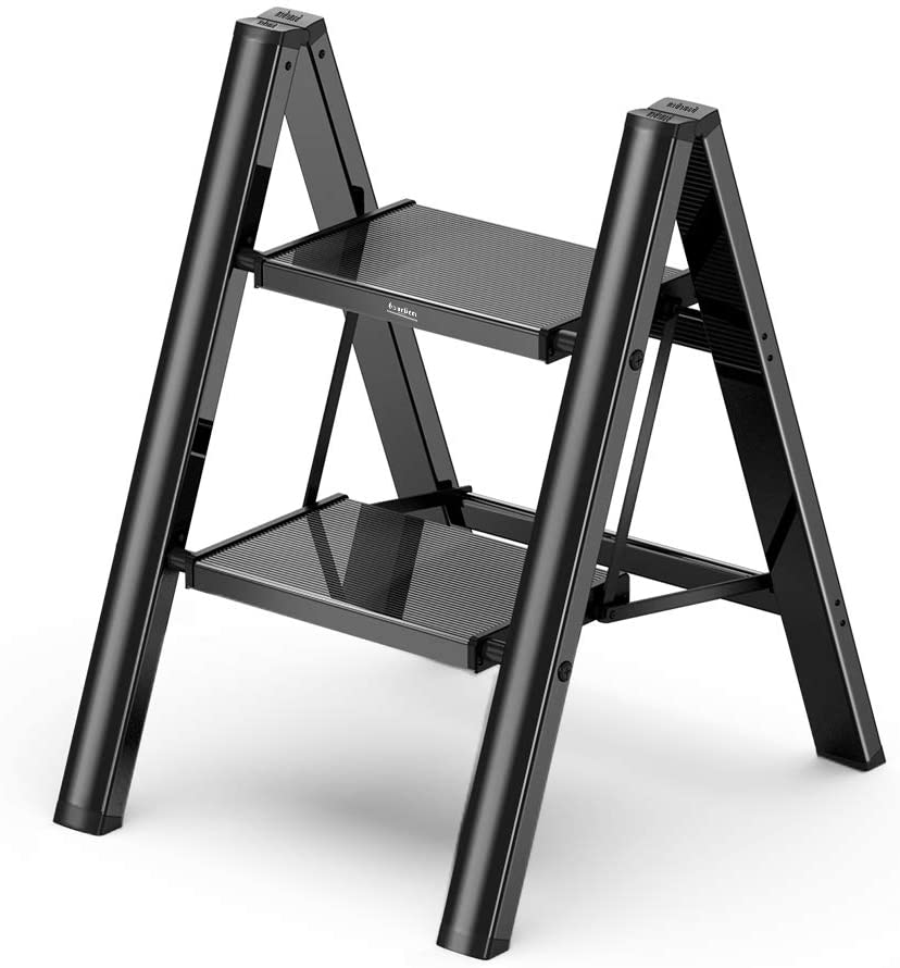 2 Step Ladder Folding Step Stool with Anti-Slip Sturdy and Wide Pedal, Aluminum Portable Lightweight Ladder Shelf Multi-Use for Home and Kitchen, Black, 330 lbs
