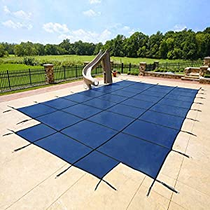 20u0027x40u0027 Blue Mesh   CES Rectangle Inground Safety Pool Cover   15 Year  Warranty   20 Ft X 40 Ft In Ground Winter Cover With 4u0027x8u0027 Center End Steps