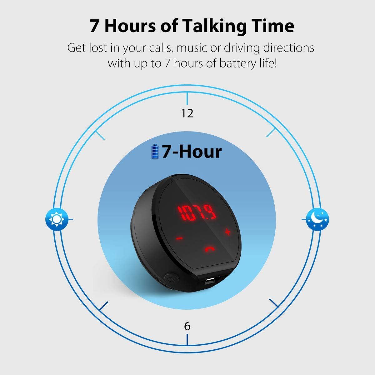 Adaptateur Radio sans Fil avec /écran Tactile Autonomie 7h Kit Mains Libres Voiture pour la Musique Appels GPS dun T/él/éphone vers Un Audio Automobile Avantree Transmetteur Bluetooth FM V4.1 2019
