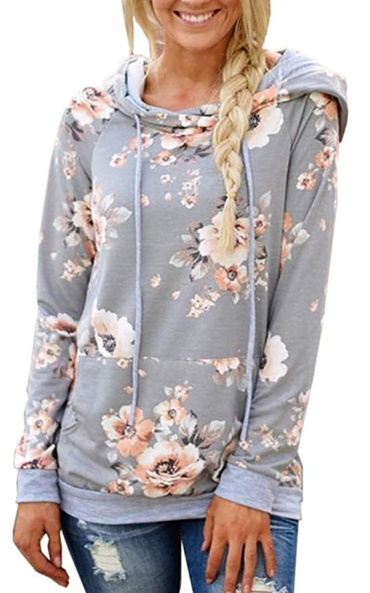 DDSOL Womens Floral Pullover Hoodie Casual Long Sleeve Drawstring Hooded Sweatshirt with Pocket by DDSOL (Image #1)