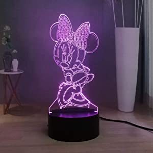 Laysinly Minnie Mouse LED Night Light, USB Remote Control Child Desk Lamp, Kids Bedroom Sleeping Night Lamp Decor Light, Mickey Mouse 3D Table Lamp, Children Birthday Xmas Lighting