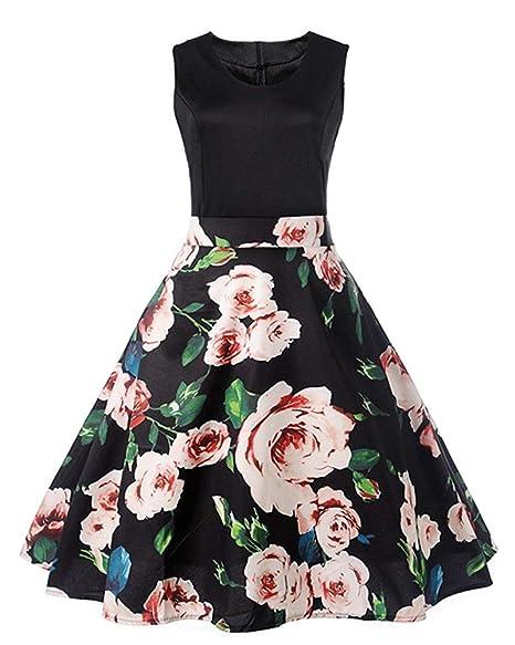 Hhgold Vestidos Vestido De Verano Estilo Años 80 Años Audrey