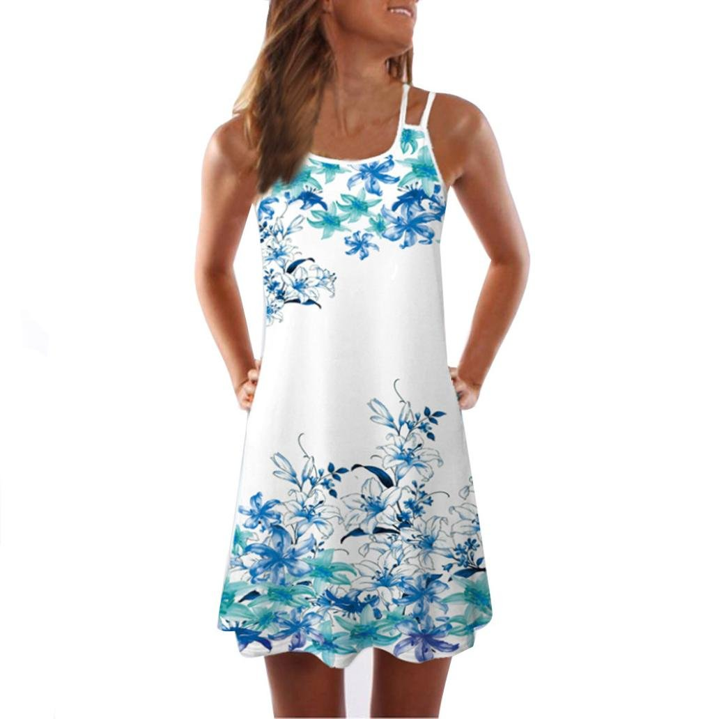 FANOUD Women Mini Dress Summer Vintage Sleeveless Dress 3D Floral Print Bohe Tank Short Dress (White, S)