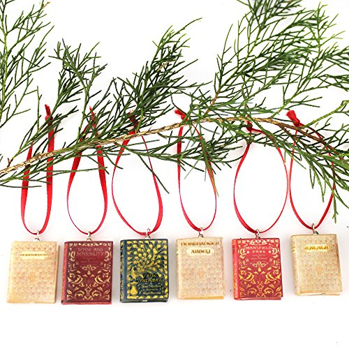 JANE AUSTEN NOVELS Sculpted Clay Mini Book Ornament SET by Book Beads (Collector's First Editions) (Silver Classic Scroll Plated)
