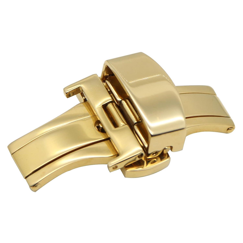 zlimsn WatchバックルダブルプッシュボタンButterfly Deployment交換12 14 mm 16 mm 18 mm 20 mm 22 mm 24 mm カラー: ゴールド 14mm|ゴールド ゴールド 14mm B07167HFKL