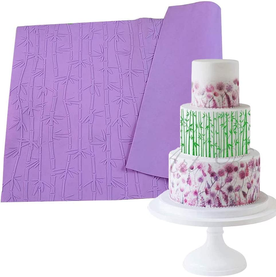 19 X 15 Inch Bamboo Silicone Lace Mat Fondant Gumpaste Embossing Mat Texture Impression Icing Mold Cake Decorating Imprint Border Brim Decor Tools (Random Color)
