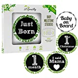Lil Sproutling Baby Monthly Milestone Stickers – Set of 32 Premium Chalkboard & Floral Stickers for Newborn First Year – Perfect Baby Shower Gift or Scrapbook Photo Memory Keepsake