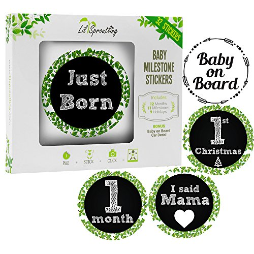 Mouse Personalized Holiday Mickey (Lil Sproutling Baby Monthly Milestone Stickers – Set of 32 Premium Chalkboard & Floral Stickers for Newborn First Year – Perfect Baby Shower Gift or Scrapbook Photo Memory Keepsake)