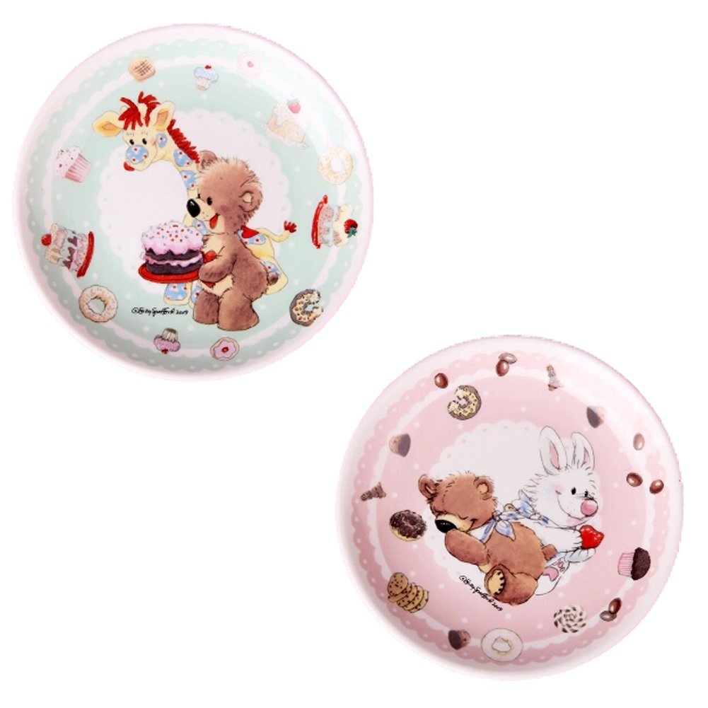 Kylin Express Set Of 2 Ceramic Cartoon Animal Round Dishes Chicken Dishes,Green&Pink