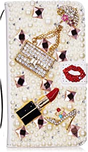 STENES Bling Wallet Phone Case Compatible with Samsung Galaxy Note 20 Ultra - Stylish - 3D Handmade Girls Bags Lipstick High Heel Leather Cover with Cable Protector [4 Pack] - Red