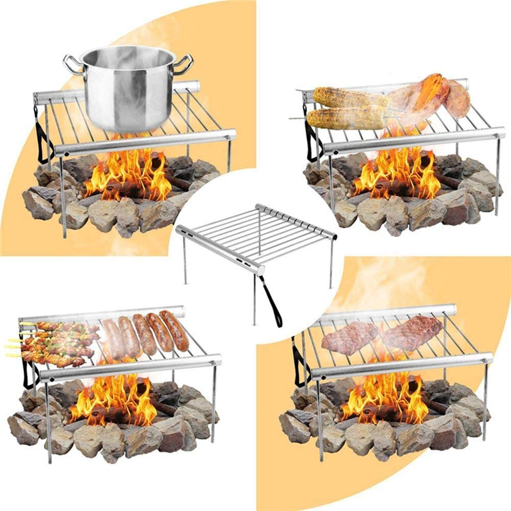 Camping Stainless Steel  Toaster Rack Bread Tray Hiking Gas Stove 6A