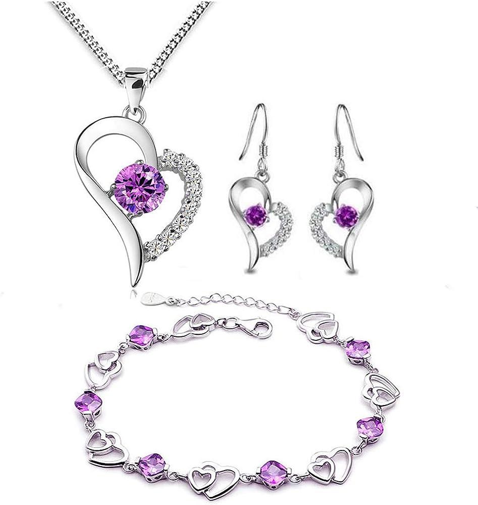 findout 925 amatista en forma de corazón del pendiente y colgante de collar + pulsera