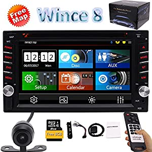 "6.2"" Double 2DIN In Dash Car Stereo CD DVD Player USB SD Bluetooth FM Radio Handy Free Map GPS Navi support Cam-IN 1080P Video Steering Wheel Control+8 GB Map Card+Remote Control+Rear View Camera"