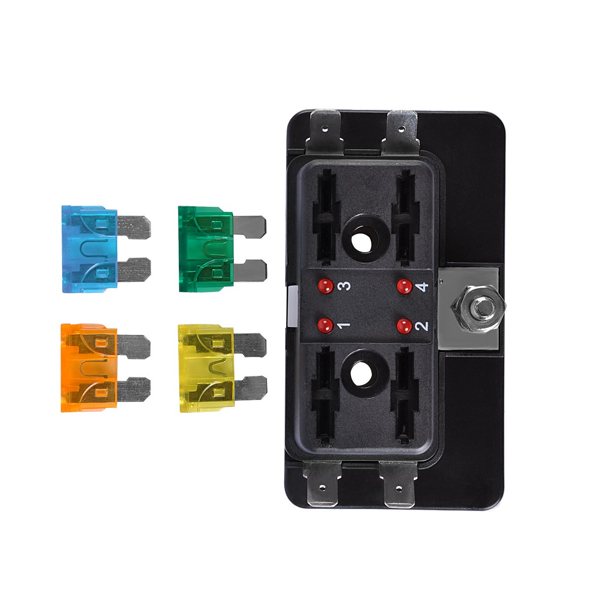 4-Way Blade Fuse Block, AutoEC Marine Fuse Box Holder for Car Boat Marine Trike with Led Safety Indicator for Blown Fuse by AutoEC (Image #4)