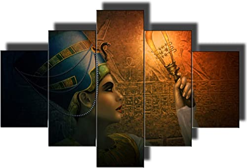 African Painting Ancient Egyp Wall Art Cleopatra Pictuers 5 Pcs/Multi Panel Canvas Modern Artwork Contemporary Home Decor