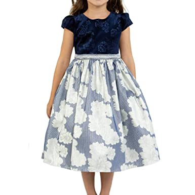 f9b5a4577b9 Little Girls Cap Sleeve Velvet Floral Metallic Jacquard Silver Trim Waist  Dress Navy Blue - Size