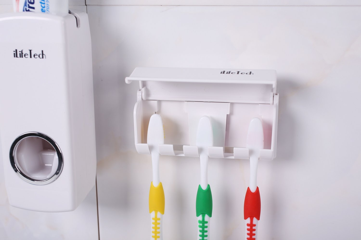 iLifeTech Toothpaste Dispenser Automatic Toothpaste Squeezer and Holder Set