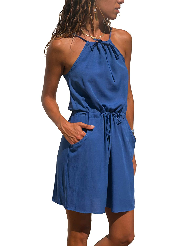 Eytino Women Summer Casual Sleeveless Boho Printed Short Dress Sundress EN220635 S-XL