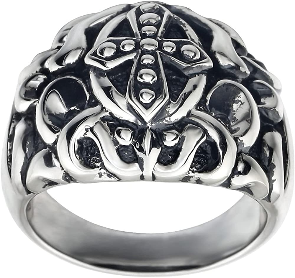 Beautiful Sterling silver 925 sterling Mens Cross Fashion Ring