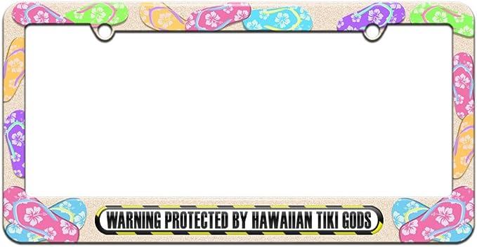 Beach Tropical Flip Flop Pattern License Plate Frame