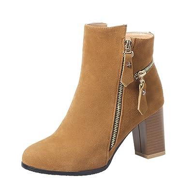 32d251e7ceecca Damen Spitze High Heels Plateau Stiefeletten Chunky Heels Boots mit  Blockabsatz und Reißverschluss Herbst Winter Schuhe