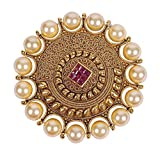 Image of Much More Exclusive Faux Pearl & Ruby Made Hair Pin & Brooches Traditional Jewelry