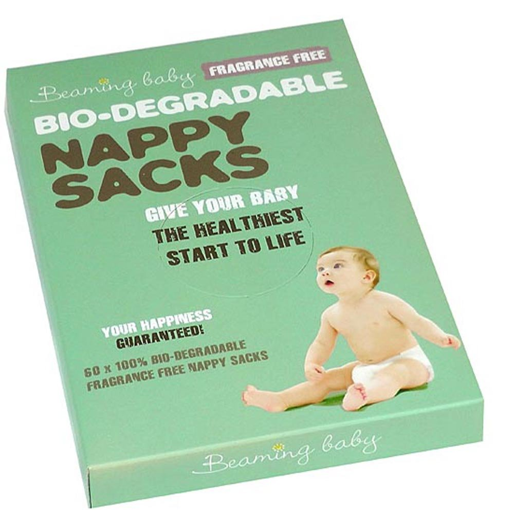 Beaming Baby Bio-degradable Nappy Sacks Fragrance Free (60 Pack) 66555