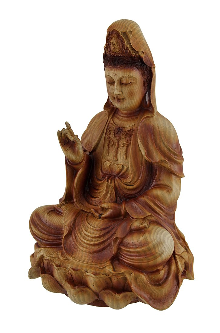 Zeckos Resin Statues Guanyin Goddess of Mercy Sitting On Lotus Wood Finish Statue 5.25 X 9 X 4.75 Inches Brown by Zeckos (Image #1)